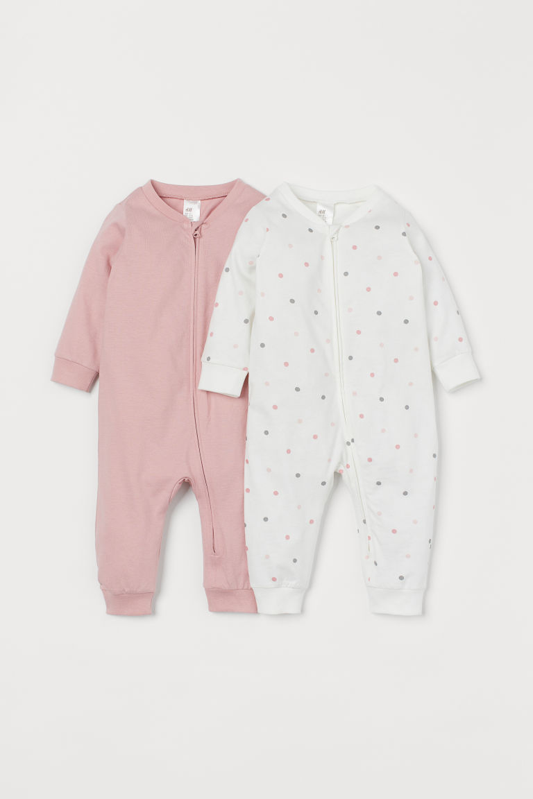 2-pack zip-up pyjamas - Pink/White spotted - Kids | H&M