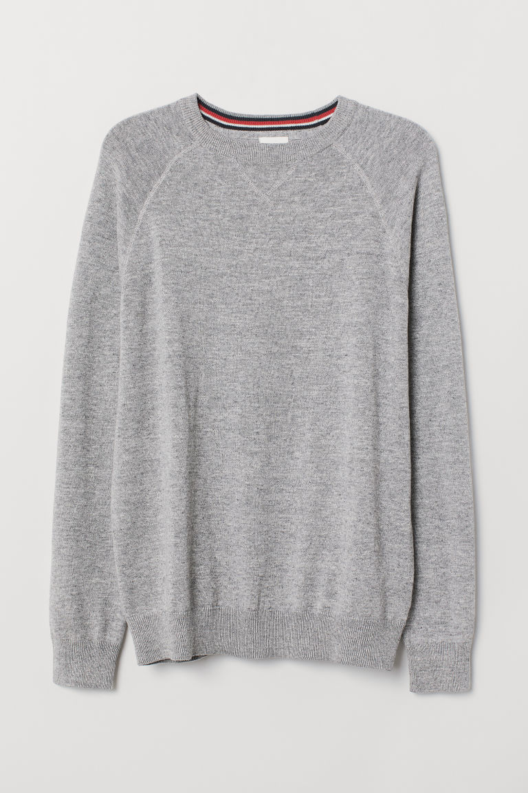 Cotton raglan-sleeved jumper - Grey marl - Men | H&M CN