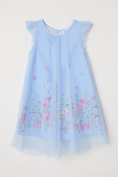 Tulle dress with glitter - Pigeon blue/Butterflies - Kids | H&M