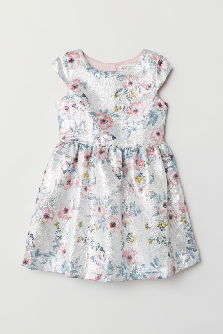 Jacquard-weave dress - Silver-coloured/Floral - Kids | H&M