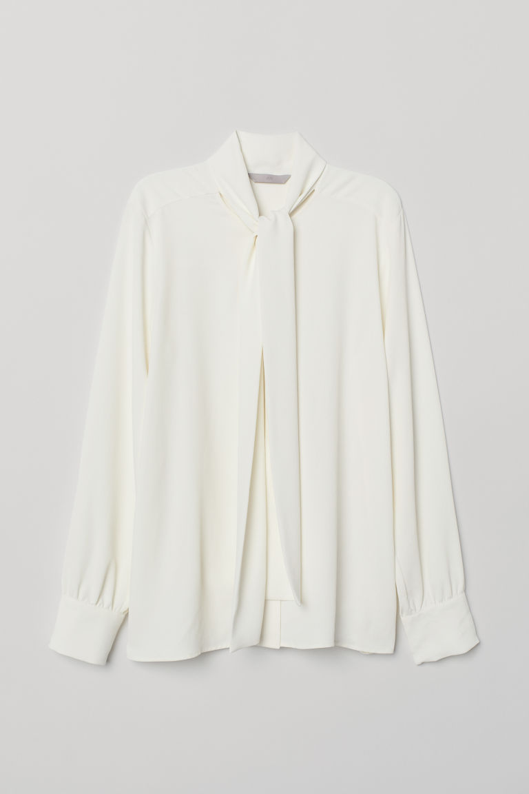 Tie-collar blouse - Cream - Ladies | H&M