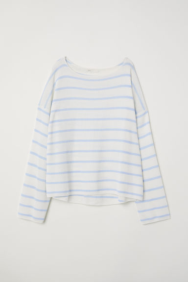 Fine-knit jumper - Natural white/Blue striped -  | H&M CN