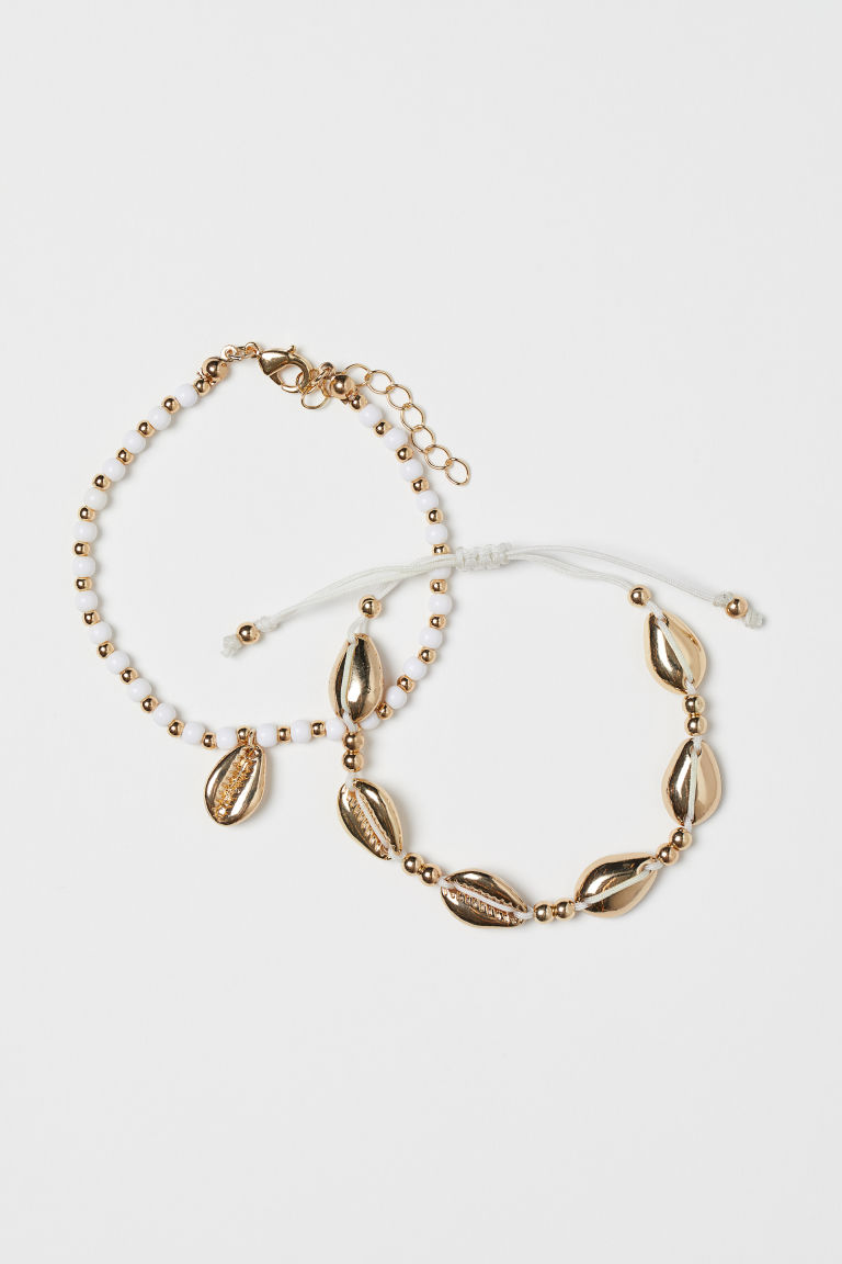 2-pack bracelets - Gold-coloured/White - Ladies | H&M GB