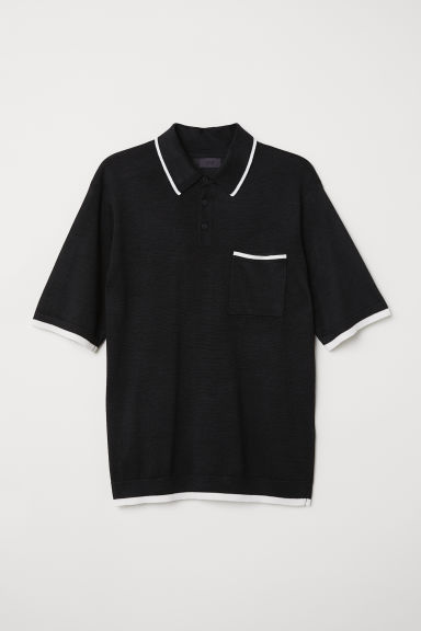 Fine-knit polo shirt - Black - Men | H&M CN
