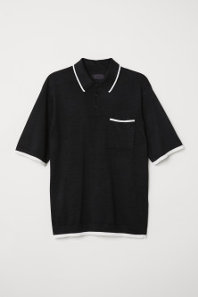 Fine-knit polo shirtModel