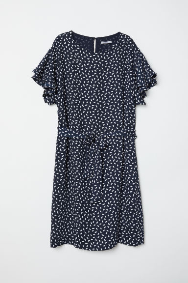 Flounce-sleeved dress - Dark blue/Patterned - Ladies | H&M