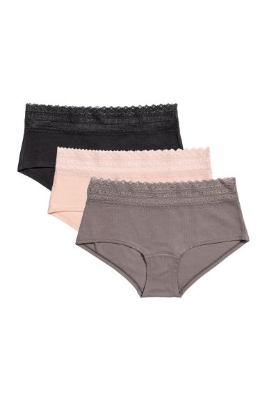 3-pack shortie briefs - Black/Grey - Ladies | H&M IE
