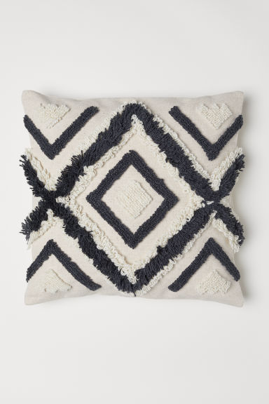 Wool-embroidered cushion cover - Light beige - Home All | H&M CN