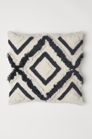 Wool-embroidered cushion cover