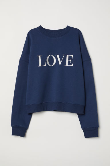 Felpa con motivo - Blu scuro/Love - DONNA | H&M IT