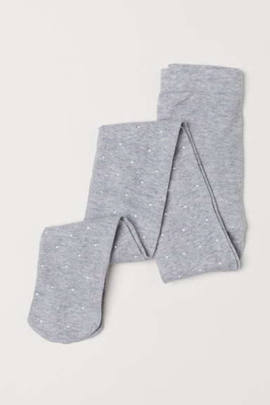 Tights with sparkly stones - Light grey marl - Kids | H&M