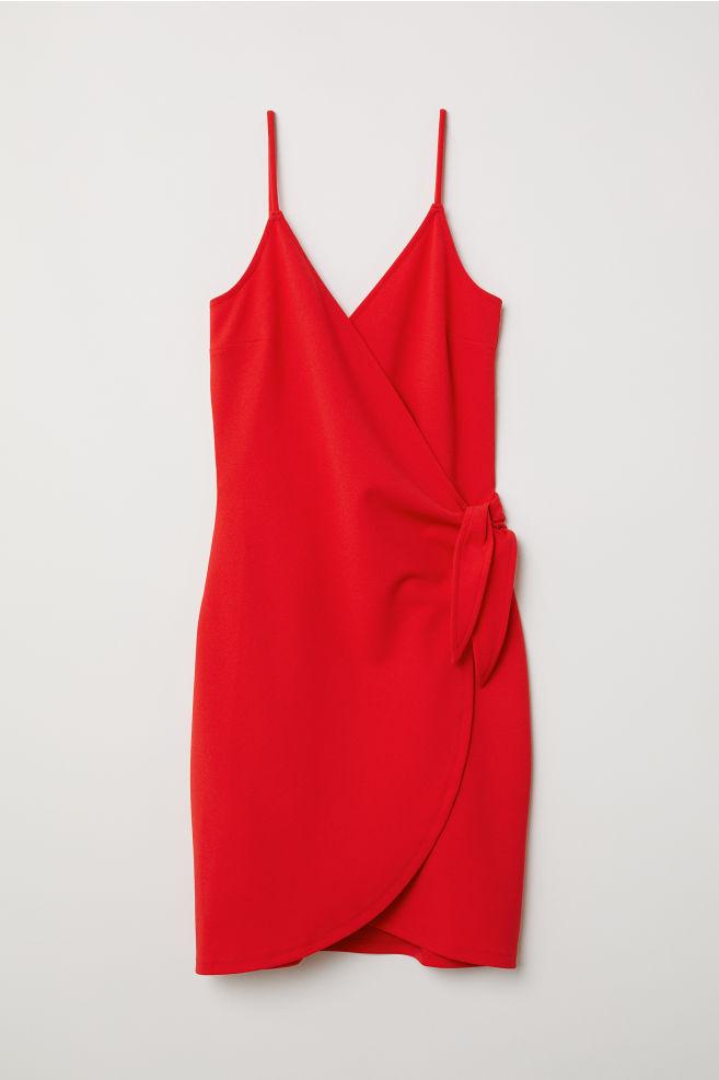 1861396164 V-neck Dress - Bright red - Ladies