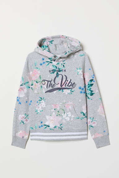 Hooded top with a motif - Grey marl/Floral - Kids | H&M