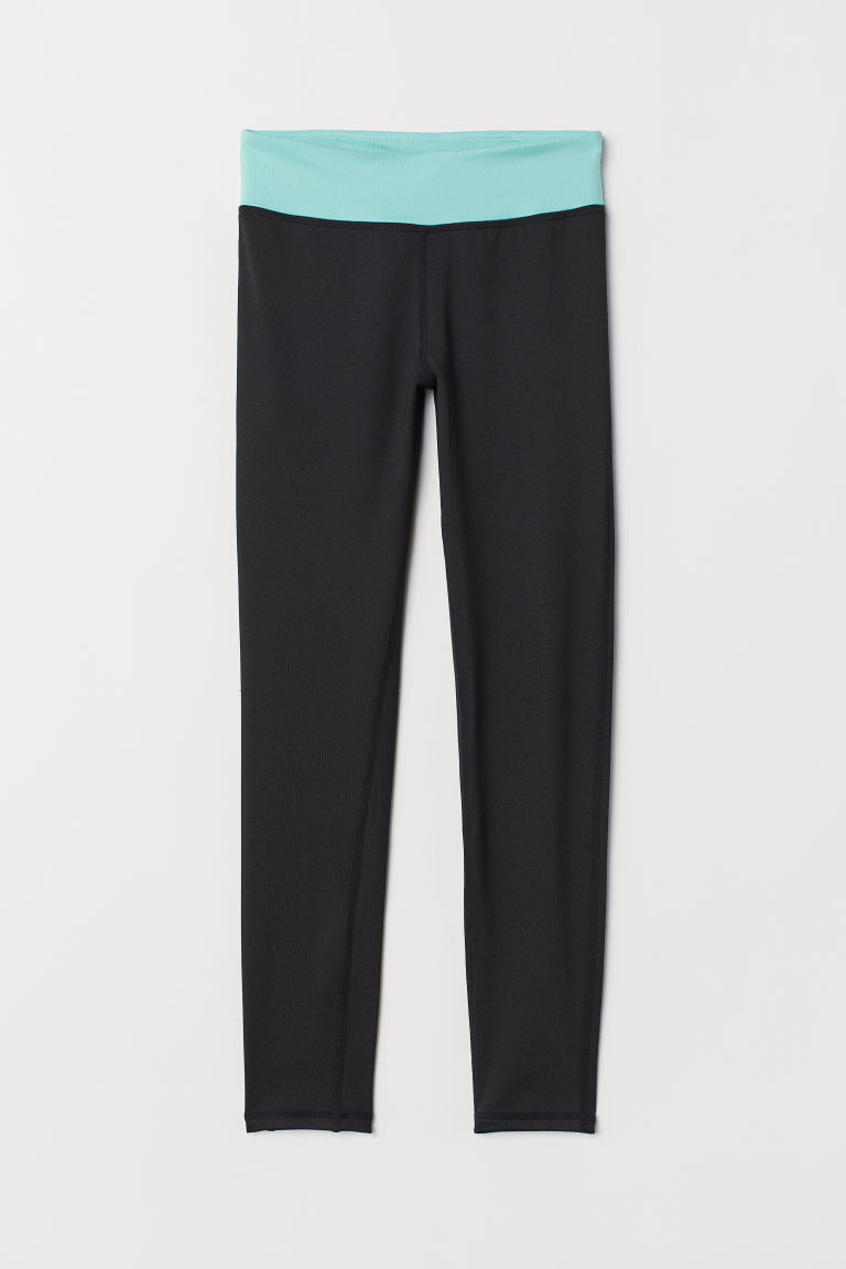 Sports tights - Black/Turquoise - Kids | H&M CN
