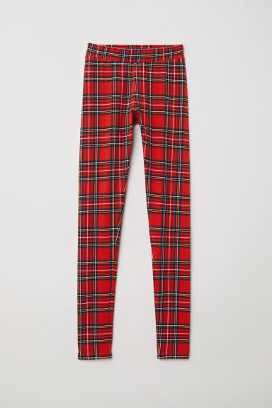 Patterned leggings - Red/Checked -  | H&M CN