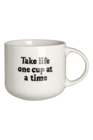 Porcelain mug - White/Life - Home All | H&M IE