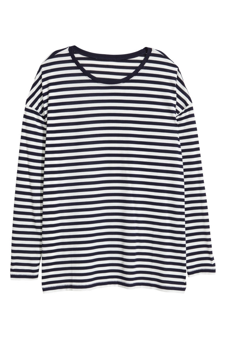Jersey top - White/Blue striped -  | H&M CN