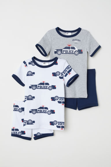2-pack jersey pyjamas - White/Police car - Kids | H&M CN