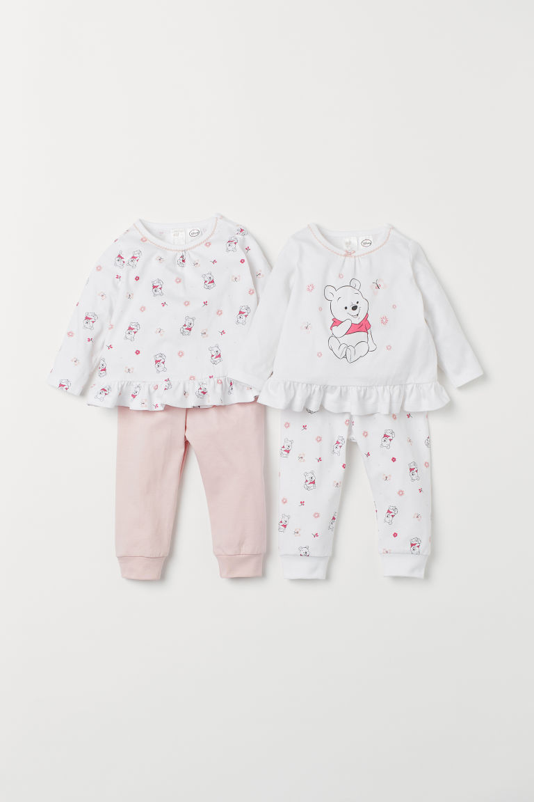 2-pack pyjamas - White/Light pink - Kids | H&M IN
