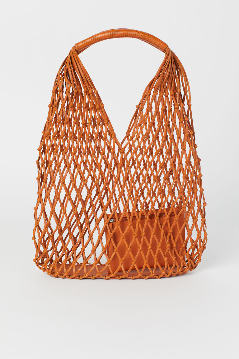 Leather mesh bag - Orange - Ladies | H&M