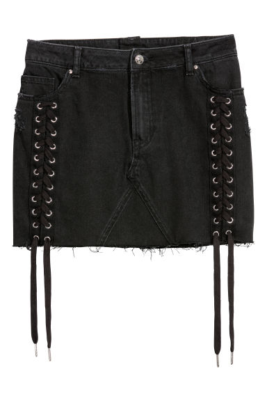 Denim skirt with lacing - Black -  | H&M