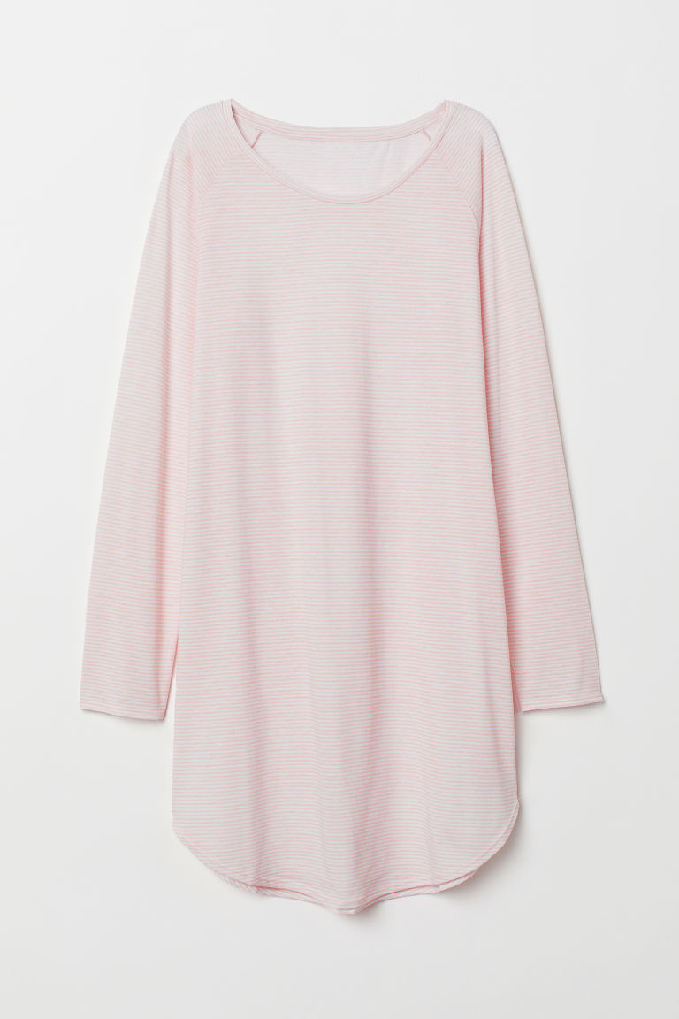 Printed nightdress - Powder pink/White striped - Ladies | H&M CN