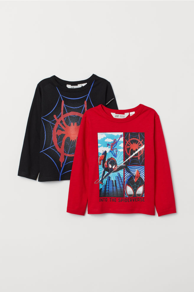 9dd2627be 2-pack Jersey Shirts - Black/Spider-Man - Kids   H&M US