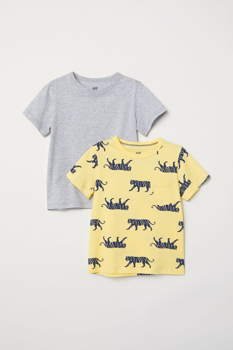2-pack T-shirts - Yellow/Tigers - Kids | H&M CN