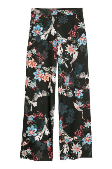 Wide satin trousers - Black/Floral -  | H&M