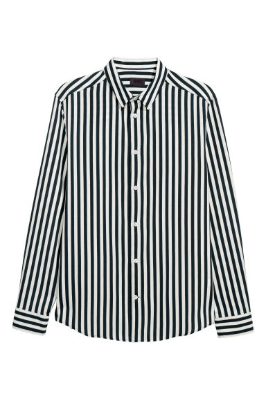 Striped cotton-blend shirt - Dark blue/White striped -  | H&M GB
