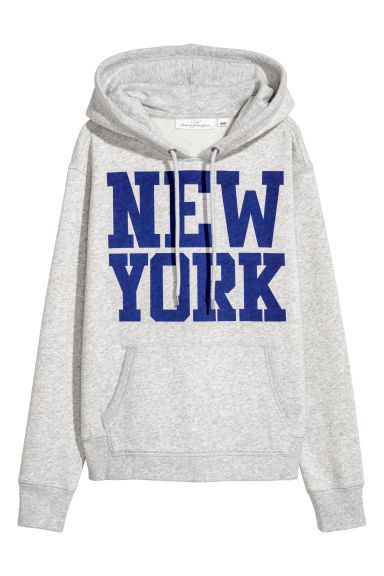 Printed hooded top - Light grey/New York -  | H&M IE