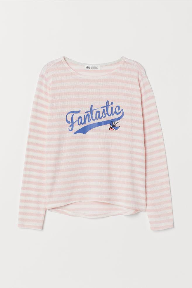 Finstickad tröja med tryck - Ljusrosa/Fantastic - BARN | H&M SE 4