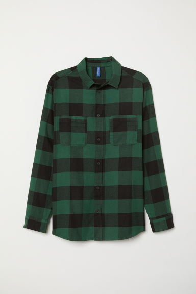 Cotton flannel shirt - Green/Black checked - Men | H&M