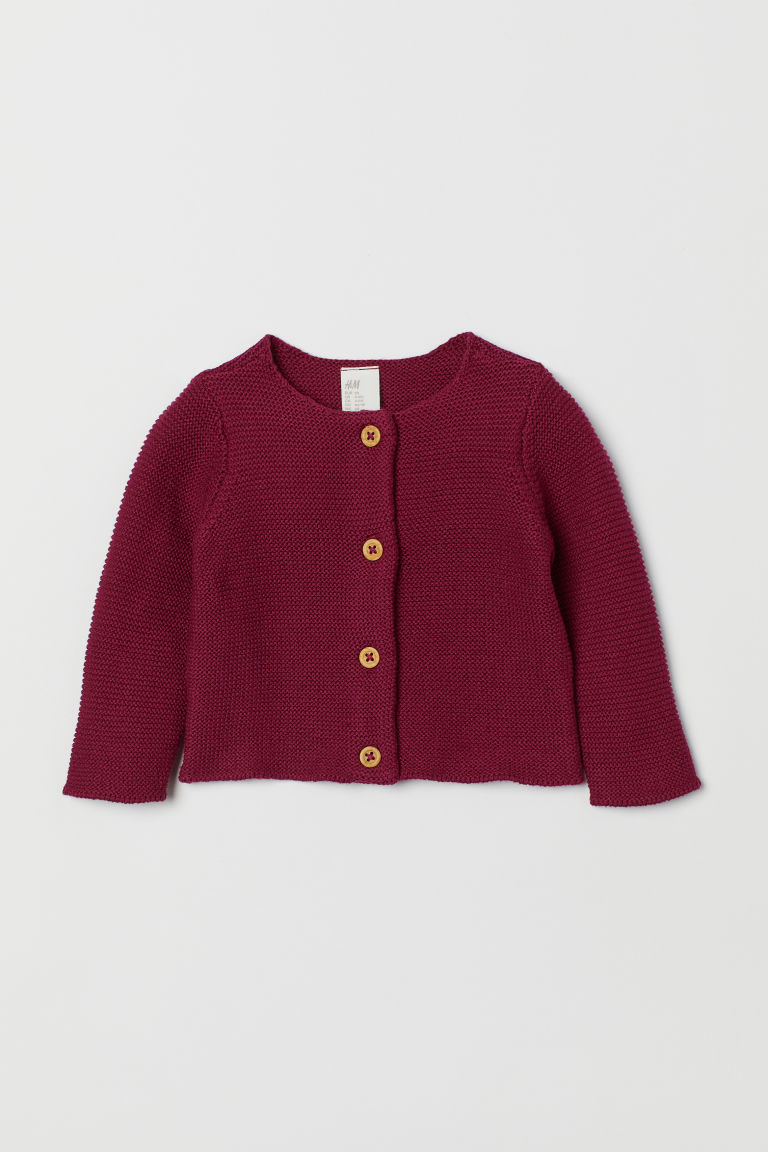 Garter-stitch cotton cardigan - Dark plum - Kids | H&M CN