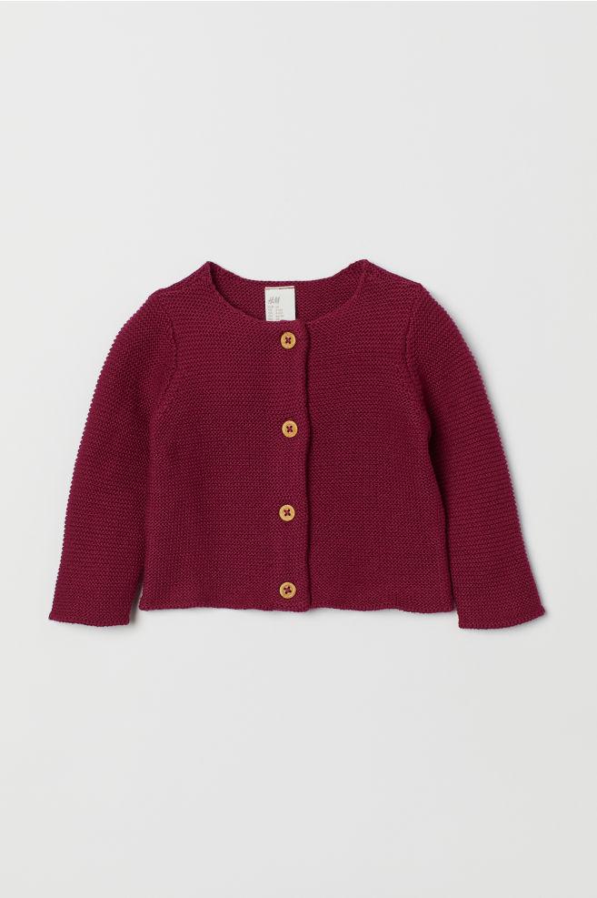 01a99607231b Garter-stitch Cotton Cardigan - Dark plum - Kids