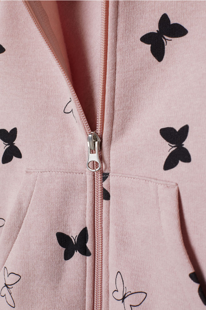 29f1b00aedc61e Hooded jacket - Powder pink/Butterflies - Kids | H&M ...
