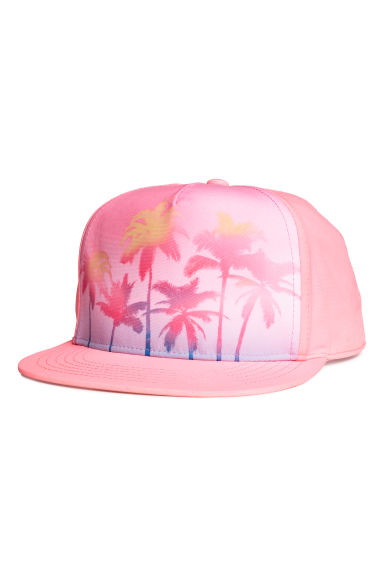 Cap with a motif - Light neon pink/Palm trees - Kids | H&M