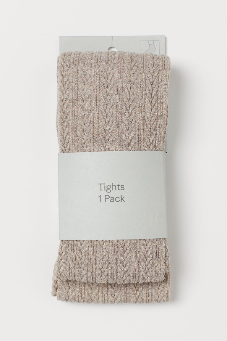 Textured-knit Tights - Light taupe - Ladies | H&M US