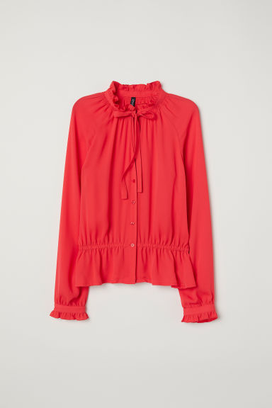 Chiffon blouse with flounces - Coral red - Ladies | H&M GB