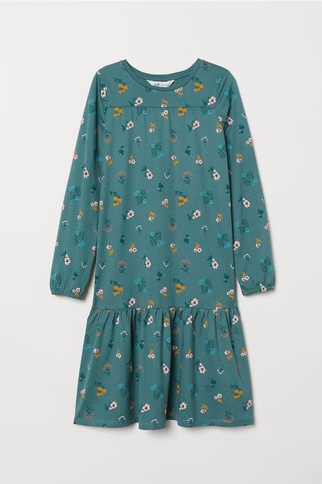 a16b099b221e Patterned jersey dress - Green/Flowers - Kids | H&M ...