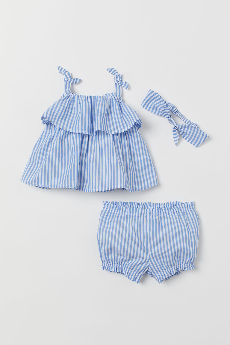 3-piece cotton set - Blue/White striped - Kids | H&M