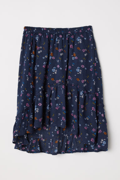 Gonna increspata - Blu scuro/fiori - BAMBINO | H&M IT