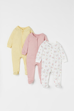 3-pack zip-up pyjamas