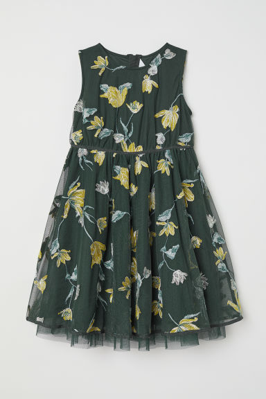 Dress with embroidery - Dark green/Floral -  | H&M