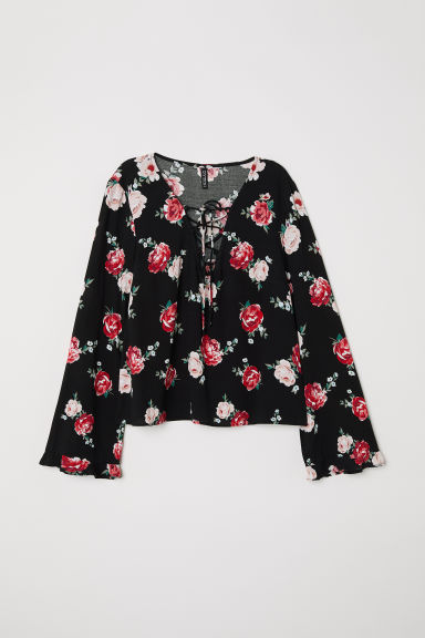 Patterned blouse with lacing - Black/Large floral -  | H&M