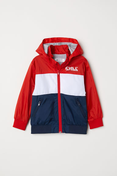 Outdoor jacket with a hood - Red/Block-coloured -  | H&M CN
