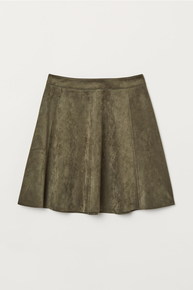 ea9bd74c4dc5 Faux Suede Skirt - Khaki green - Ladies   H M ...