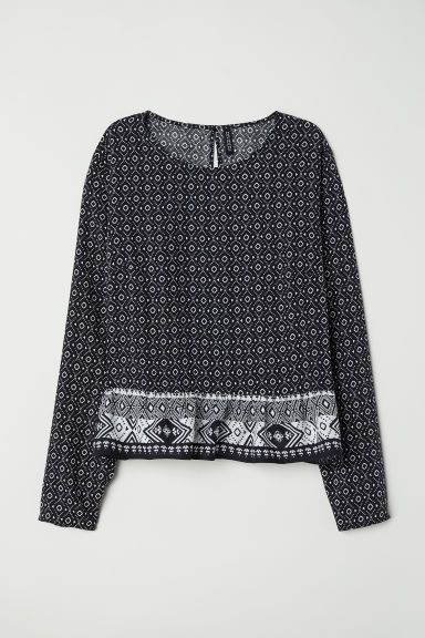 Blouse with a flounced hem - Black/Patterned -  | H&M CN