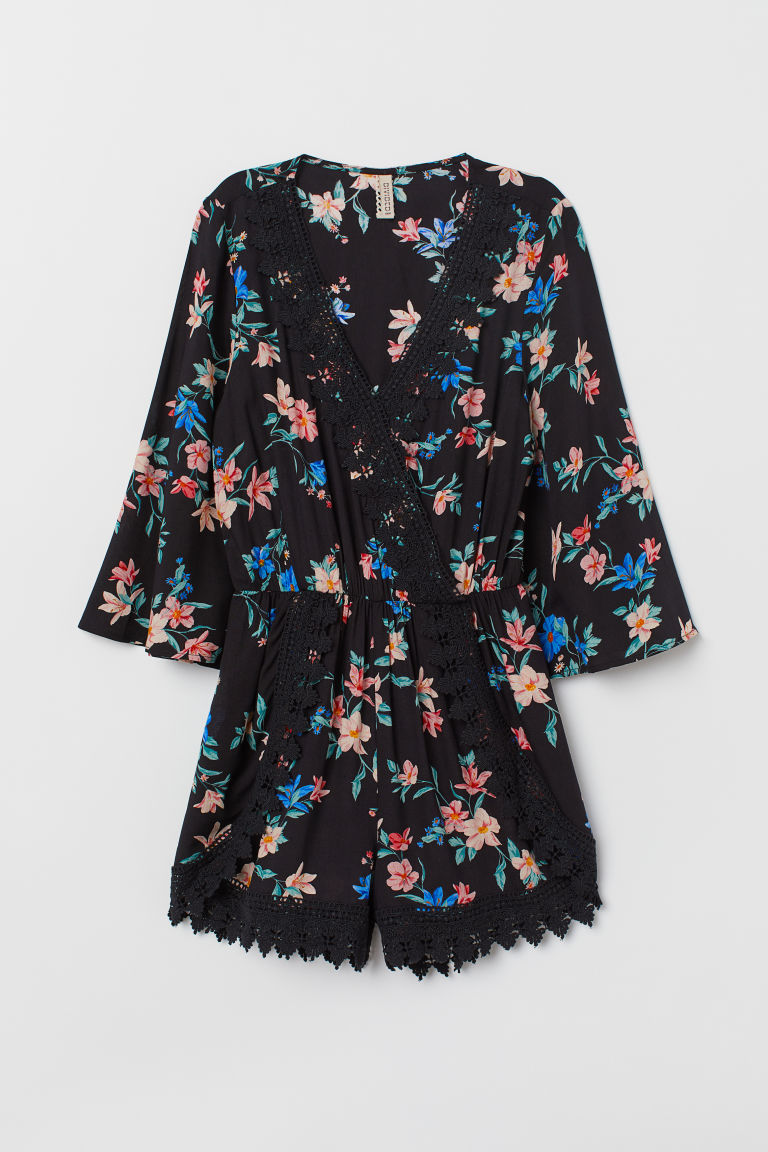 Playsuit med blonde - Sort/Storblomstret - DAME | H&M NO