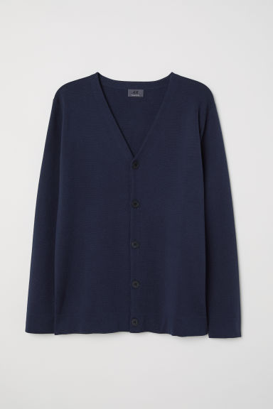 Premium cotton cardigan - Dark blue - Men | H&M CN